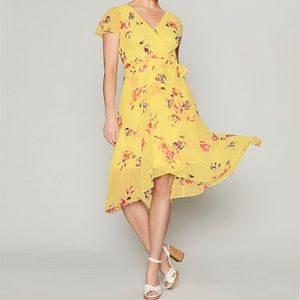 DKNY chiffon midi Dress V neck wrap flutter sleeve